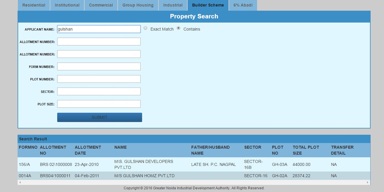 Greater Noida Authority website builder search