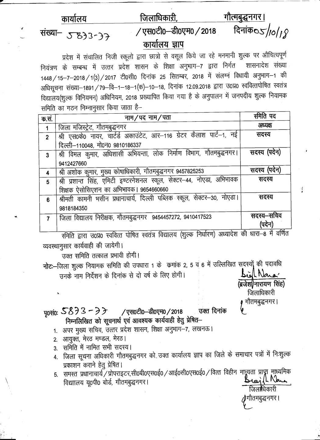 Contact details of District fee regulatory committee Gautam Buddh Nagar